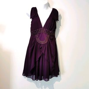 BCBG S4 eggplant purple sleeveless short dress